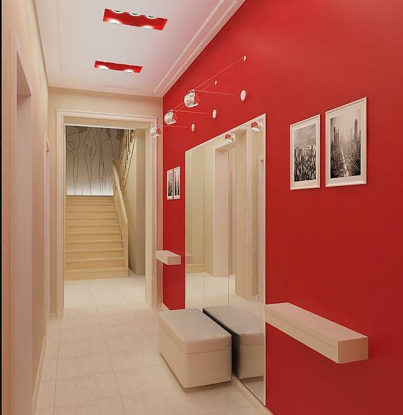 The hallway will look stylish and creative, if it is framed in red