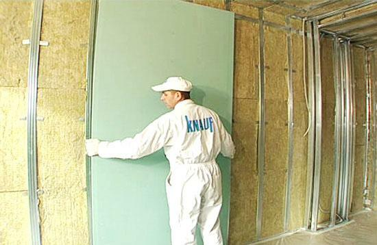Technology Knauf drywall wall and partitions: sheets mounting GCR, system and device