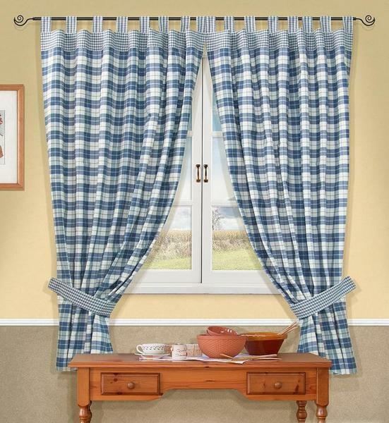 In the design of a small kitchen harmoniously fit graceful curtains-cafe in a blue cage or with a floral ornament