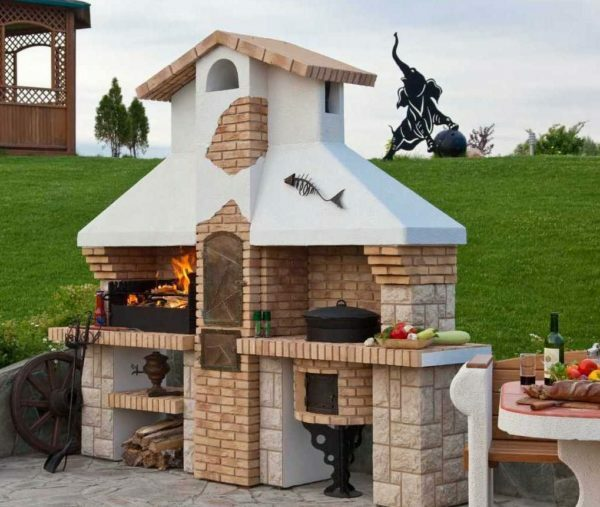 Beautifully decorated oven barbecue can become an ornament to your site.