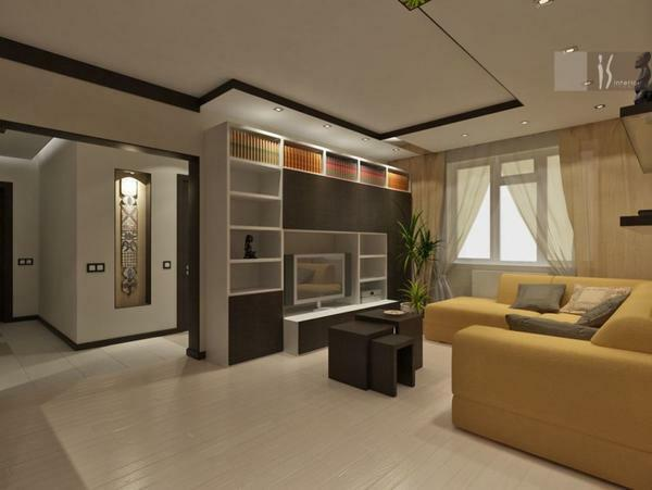 To achieve harmony in the interior of the adjacent living room, you need to carefully think over the location of the main furniture objects in accordance with the features of the room