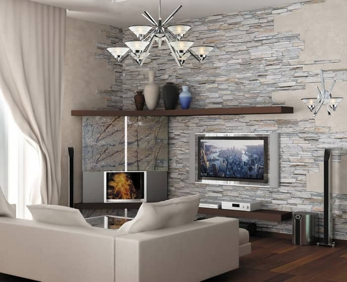 Decorative stone in the interior of the living room photo: artificial decoration of the hall, design with wood, combination in decoration