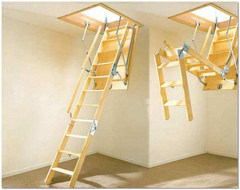 Retractable staircase to the attic: attic sliding doors, drawings by yourself, height