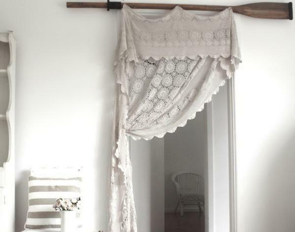 Curtains on doors and doorways: how to decorate without a door, a photo of curtains, macrame on a door jamb