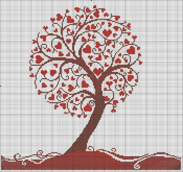 Embroidery of a tree from hearts is a rather laborious process, so in order to cope with it, one must possess perseverance and experience