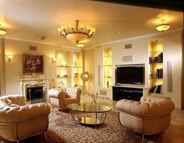 It is advisable to supplement the low-lighted living room with lamps and sconces