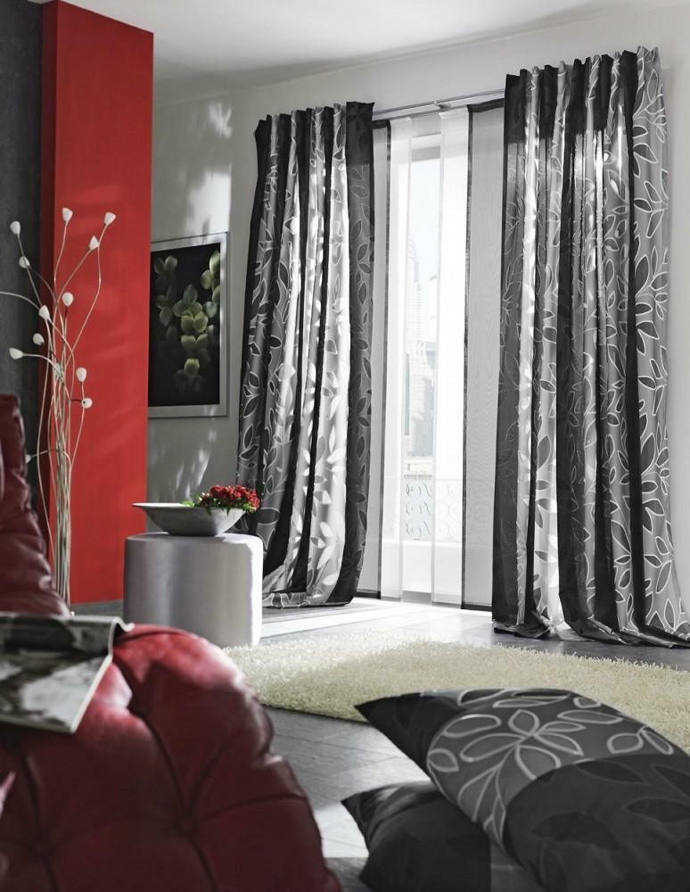 Curtains in high-tech style photo: for kitchen and living room, hall design, curtains and cornices in bedroom on windows