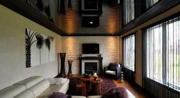 Black stretch ceiling: photo black and white in the interior, glossy, reviews about the color, with a pattern and matte