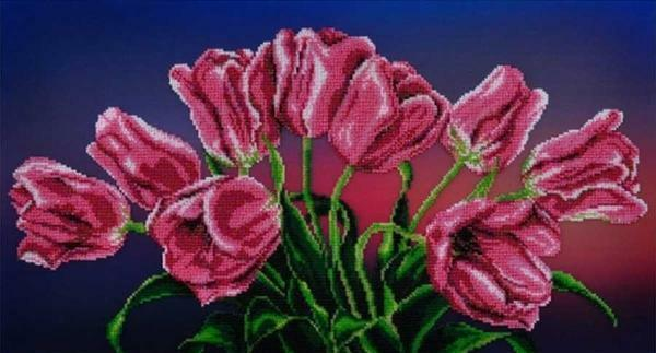 In one embroidery of tulips there can be up to sixty shades of yarn