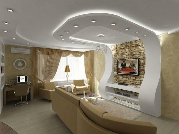Drywall - is a fairly plastic material that will help you easily hide the flaws of the ceiling