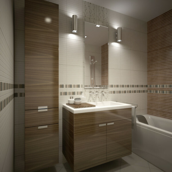 An example of the use of lamps in the interior of a small bathroom