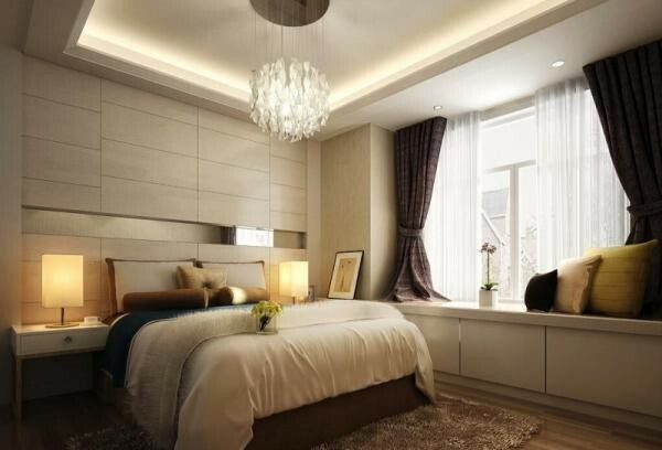 design curtains for the bedroom a large area: the dark curtains create the desired contrast