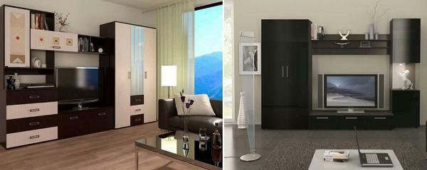 Most of the design solutions for a modular system involve a provision for a large flat TV