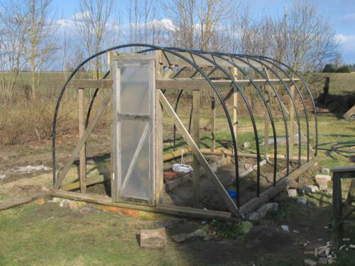 As a budget option, you can consider and make your own hands a greenhouse made of HDPE pipes