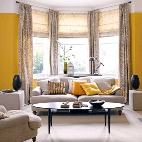 The design of a living room with a bay window