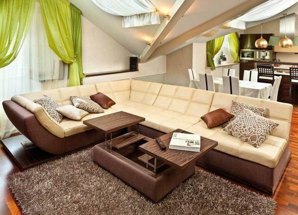 In the interior of the modern living room perfectly fit corner sofa with comfortable bed