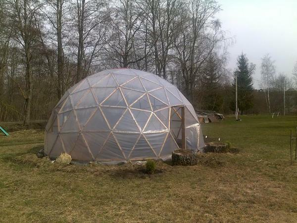 The greenhouse-dome, made by own hands, should be located in an open, sunny place