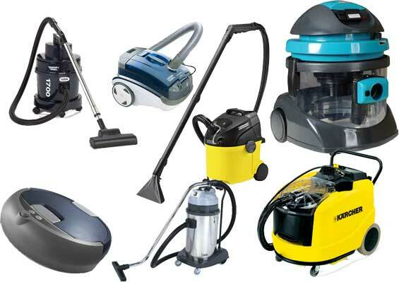 The photo presents vacuum cleaners with different functions