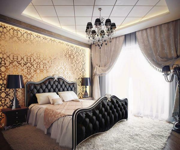 Wallpapers in classic style: in the interior photo, for walls in the bedroom and in the kitchen, which are English, beige in the hall