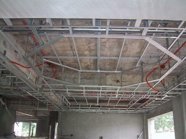 The reinforced frame must be made when constructing multi-level ceilings, since they have a sufficiently large weight