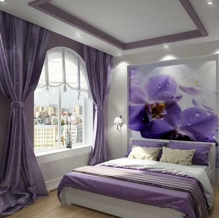 Lilac color in the bedroom will make it cozy and comfortable for rest