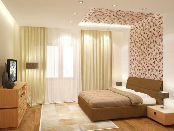 When choosing the color of the wallpaper for the ceiling, consider the room lighting and the interior feature