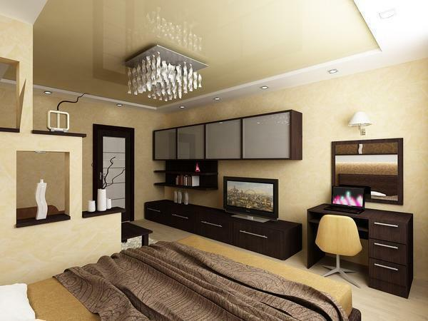 When combining in one room a bedroom and a living room, zoning with a partition