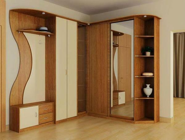 Corner wardrobes in the hallway photo: catalog with semicircular, filling in the corridor, small rounded, size