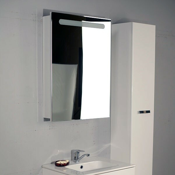 Contemporary mirrored cabinet above the bathroom