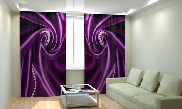 Photo-prints with a print of 3d images: real photos in the interior, drawing 3d and, pictures on the curtains in the living room