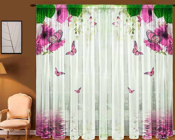 Tulle with photo printing can decorate a room