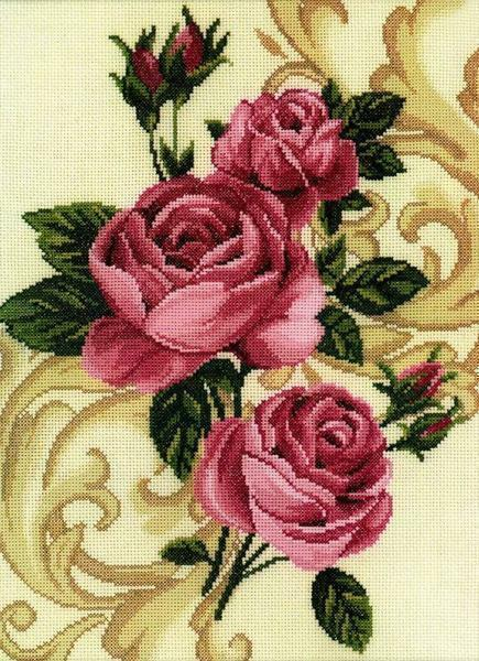 Beautiful roses can be embroidered on a tablecloth, on a towel or create a floral handmade panel
