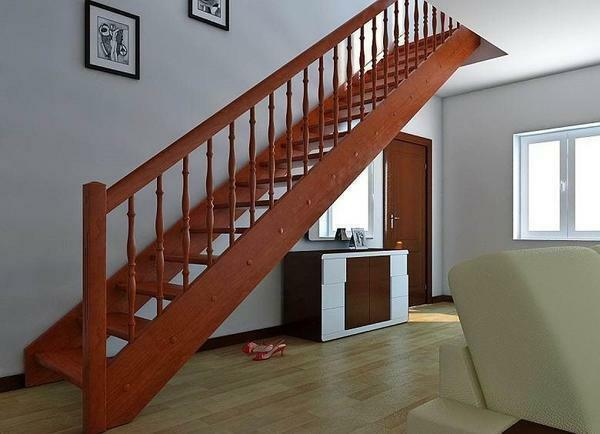 Original and beautiful in the interior of the room will look like a wooden staircase to the second floor
