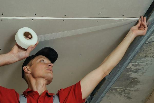 When finishing the ceiling from gypsum board, the joints between the sheets can be sealed with tape or special tape