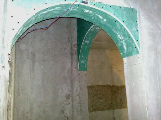 Arch made of plasterboard