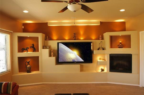 Niche from plasterboard under the TV in the interior photo: shelves and wall, ideas for TV, constructions by own hands