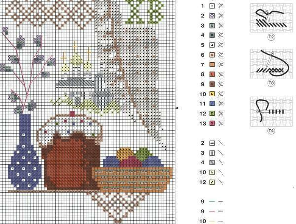 Diagram of cross-stitched napkins: easter cross for free, embroidery for easter download, style gzhel