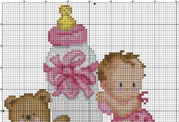 Metric cross-stitch patterns: for the girl child, free for the boy, download without registration, video