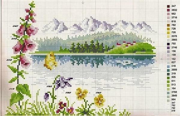 Small landscapes, first of all, will suit beginners, who only get acquainted with embroidery