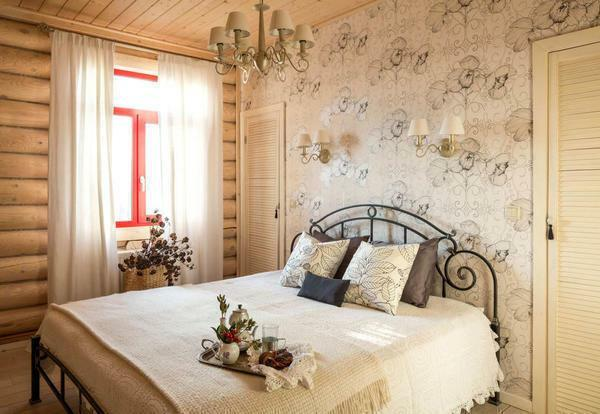 To finish the bedroom in the country style is better to use only natural and environmentally friendly materials