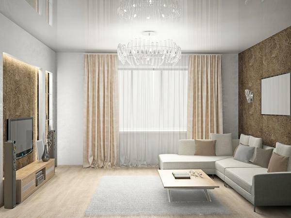 Glossy wallpaper will perfectly fit in the interior of both a small room and a spacious room