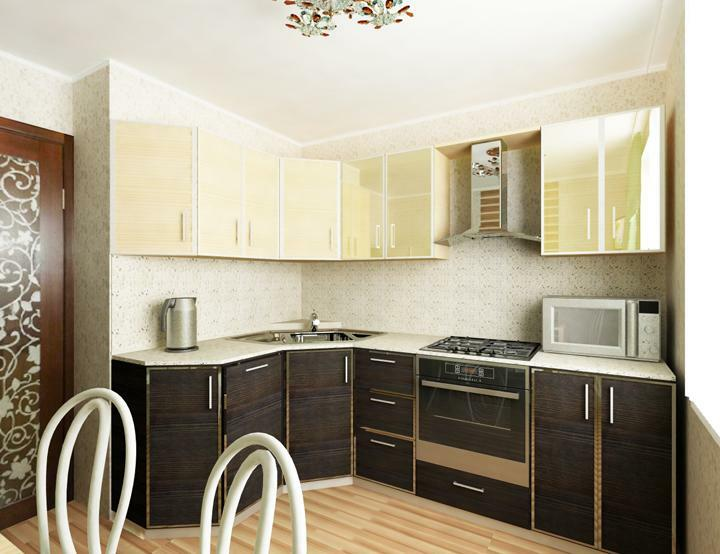 Interior kitchen 9 sq m and 15: the design of the narrow space, combined with a balcony and a loggia