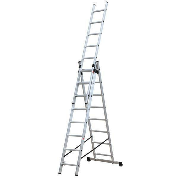 Three-section ladder: 3-section stepladder, fold-out and pull-out three-wheeled, Eifel 312 universal