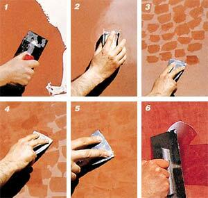 Stages of work on the creation of Venetian plaster