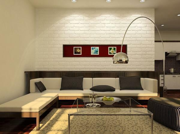 Tile for the living room on the floor: photo on the wall, ceramic floor tiles, mirror design in the interior