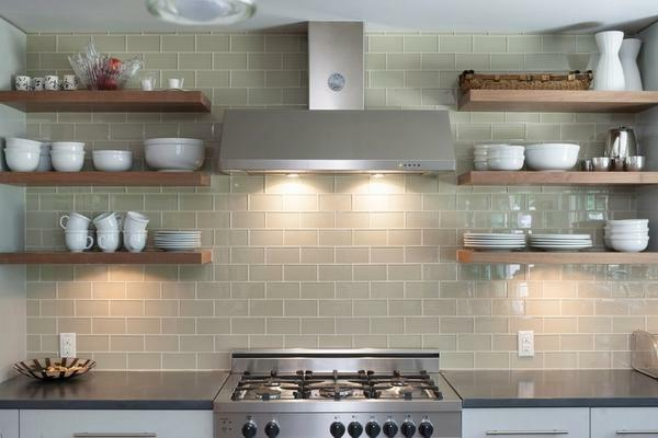 Shelves from plasterboard can be used to accommodate large-size dishes, which takes up a lot of space in the cabinets