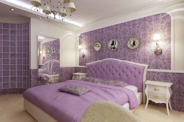 The combination of lilac and beige colors will make the bedroom modern and stylish