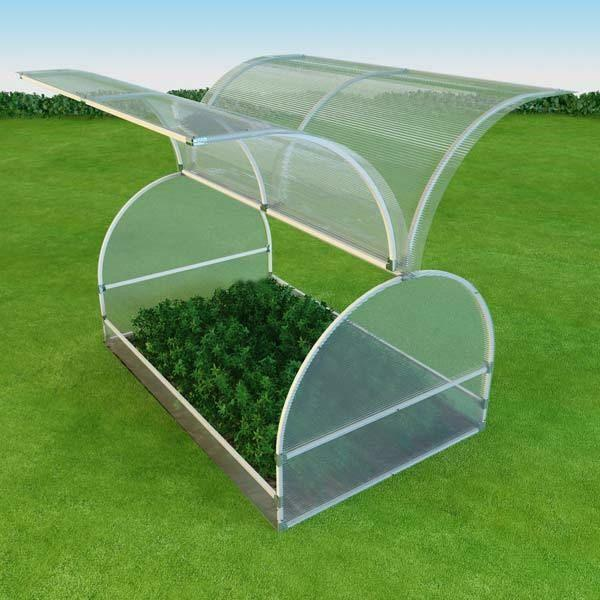"The peculiarity of the ""Butterfly"" greenhouse is the flaps on both sides of the wall"