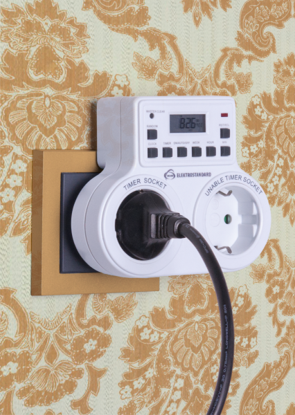 Socket with electronic timer displays the time and day of the week