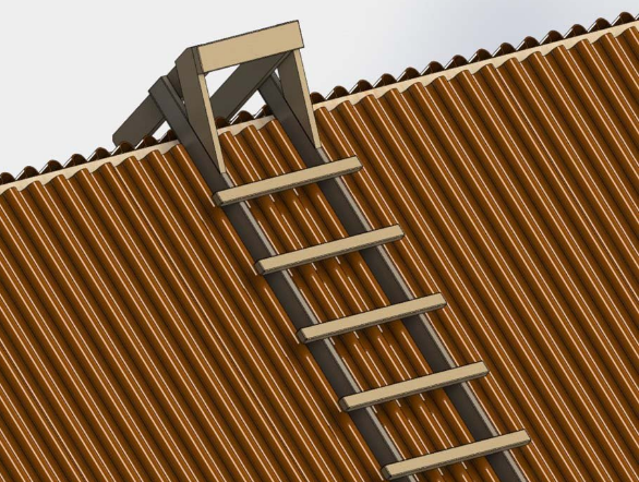 In order to make a ladder for the roof, you need bars, boards and screws